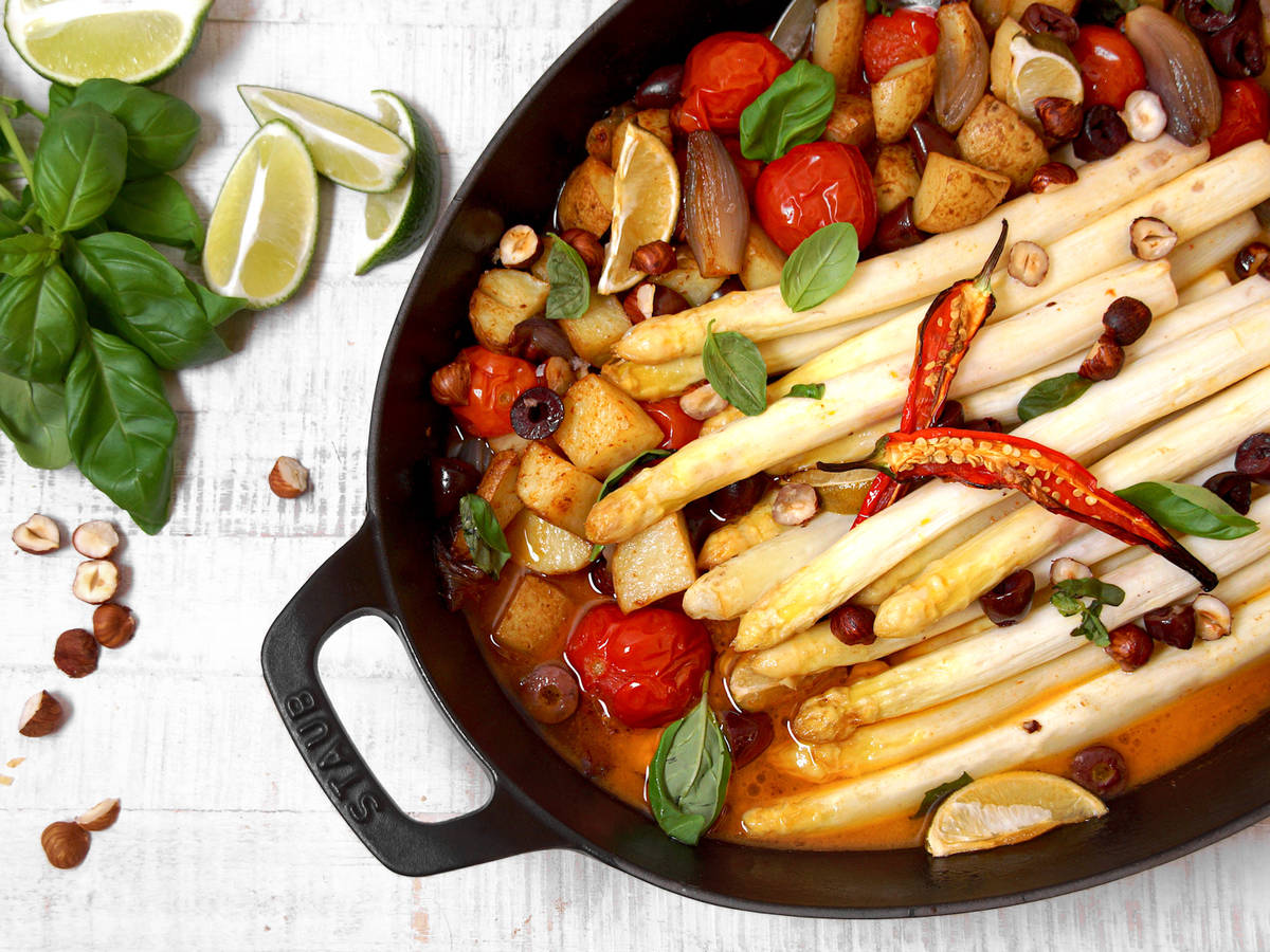 Roasted white asparagus with spring vegetables