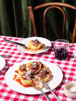 Spaghetti-Muffins mit Hackbällchen