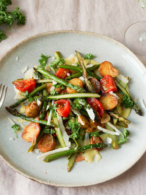Warm asparagus and potato salad with lemony mayonnaise