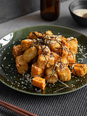 Miso roasted tofu with sweet potato