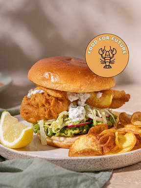 Steven macht einen Fish and Chips Burger