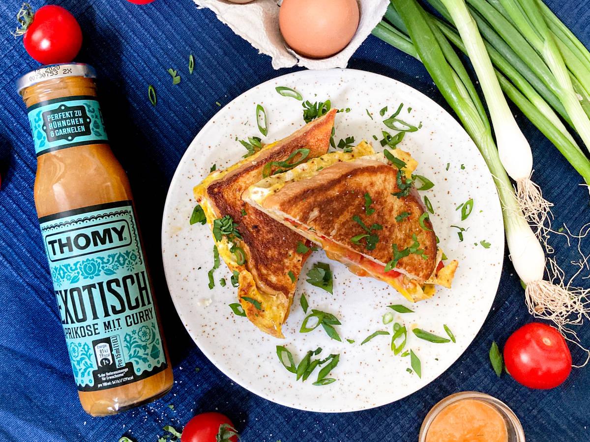 Omelett-Sandwich nach indischer Art