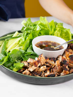 Make grilled chicken lettuce wraps with Devan