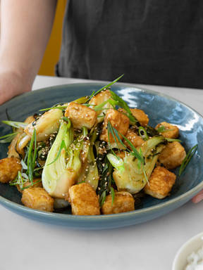 Make bok choy and crispy tofu stir fry with Hanna
