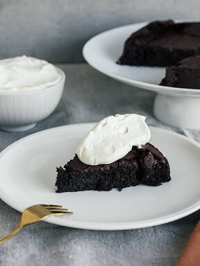 Flourless five-spice chocolate cake with ginger cream