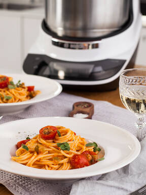 No-Cook Spaghetti Puttanesca mit dem Cookit