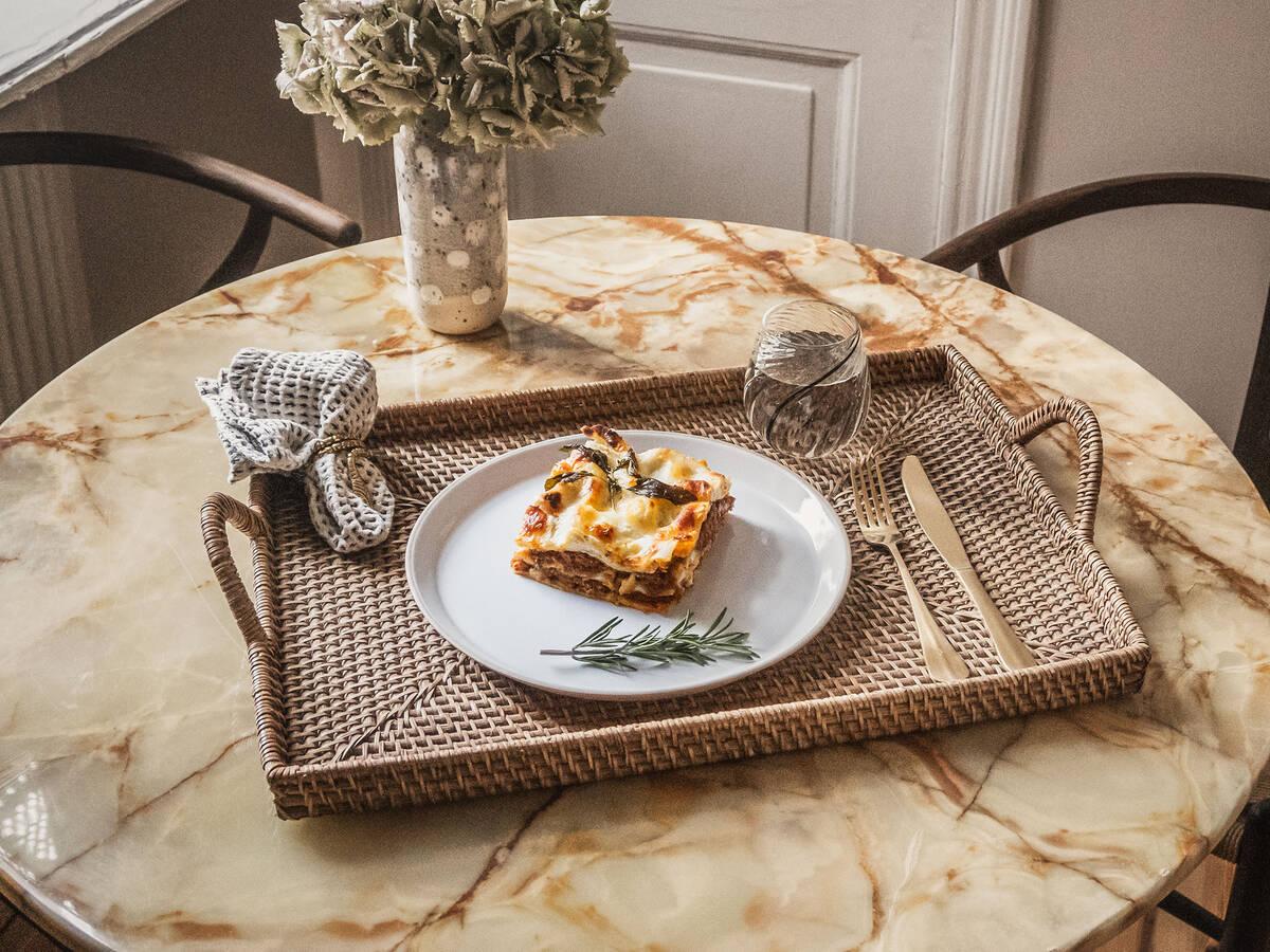 Lasagne mit Spinat und Veggie-Hack mit dem Cookit
