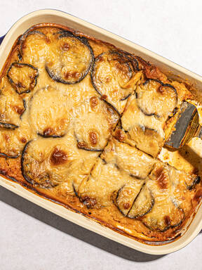 Red lentil and eggplant moussaka