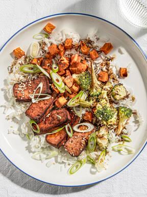 Gebackener Balsamico-Tofu und Gemüse mit 5 Zutaten