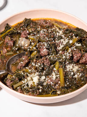 Lentil soup with Italian sausage and kale