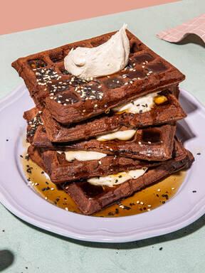 Chocolate waffles with tahini cream