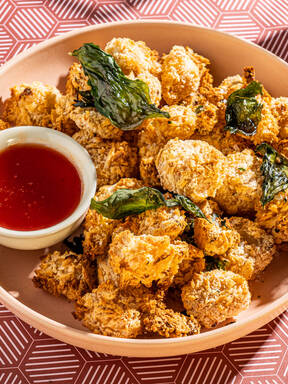 Baked popcorn cauliflower with hot honey