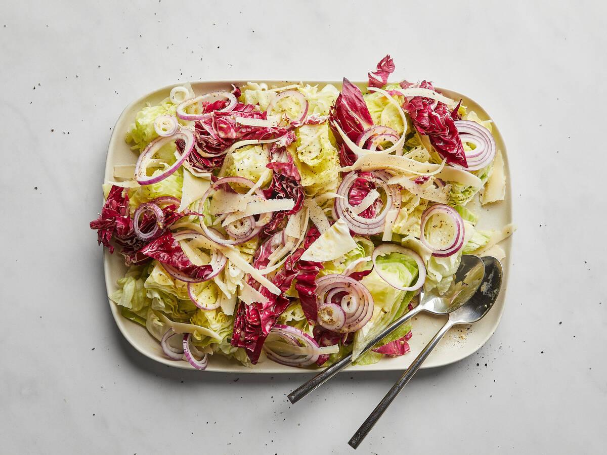 Iceberg wedge salad with Italian dressing
