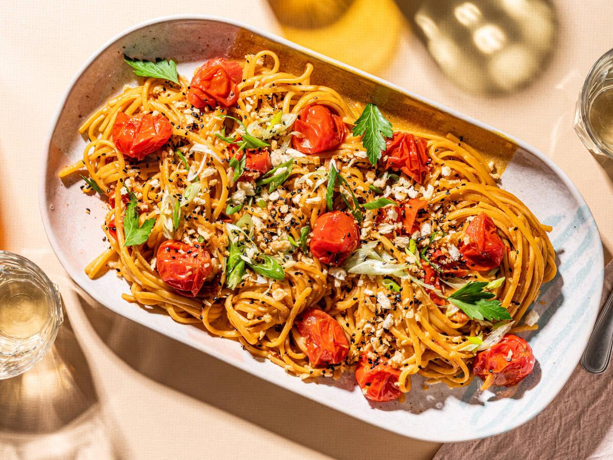 Burst cherry tomato and miso pasta with sesame crunch