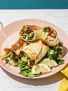 Schawarma mit veganem Burger und Pilzen