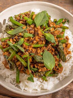 Mushroom pad kra pao (Vegan Thai basil stir-fry)