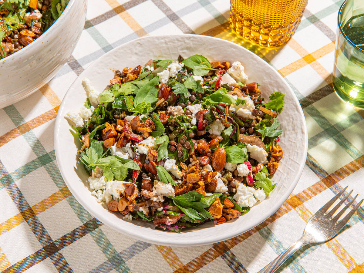 Tangy marinated lentil salad with feta