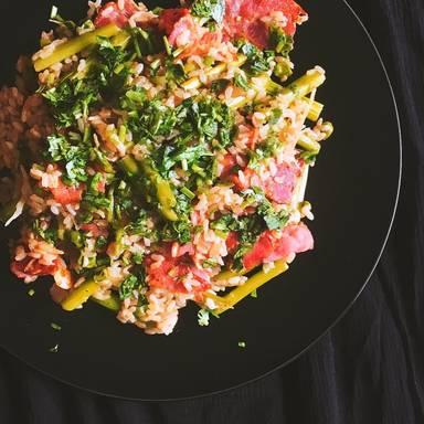 意大利熏火腿豌豆芦笋炖饭
