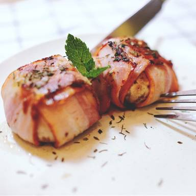Bacon-wrapped stuffed mushrooms