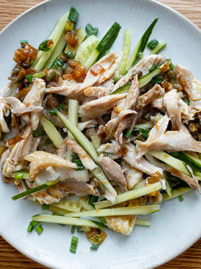 Chicken salad with ginger-scallion sauce
