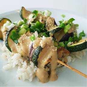Chicken vegetable skewers