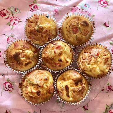 Corn muffins with bacon, herbs, and feta