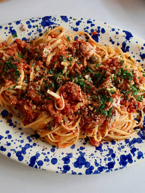 Pantry tuna pasta with capers and crunchy breadcrumbs