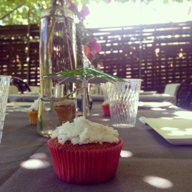 Glazed coconut-lemon cupcakes
