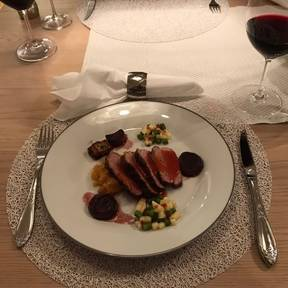 Glazed duck breast with mashed rutabaga