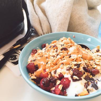 Homemade golden granola with yogurt