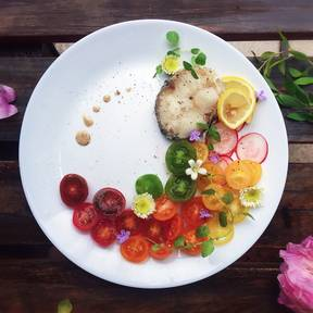 Hake and vegetables
