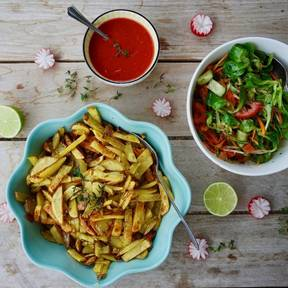 Homemade fries and salad