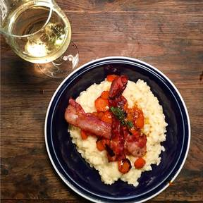 Risotto mit Honig-Karotten und Speck