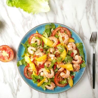 Marinated shrimp and vegetable salad
