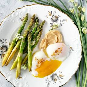 Pan-roasted asparagus and poached eggs