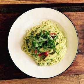 Pasta with creamy avocado-lime sauce