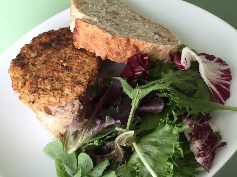 Serve as a sandwich with some leafy greens and Dijon mustard on whole grain wheat bread. Enjoy!