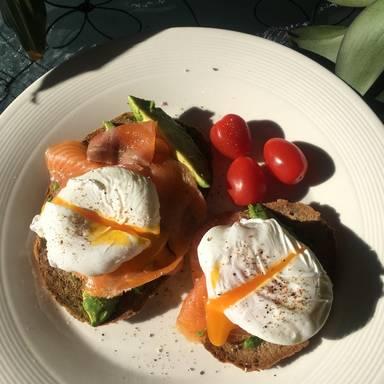 Poached eggs on avocado toast