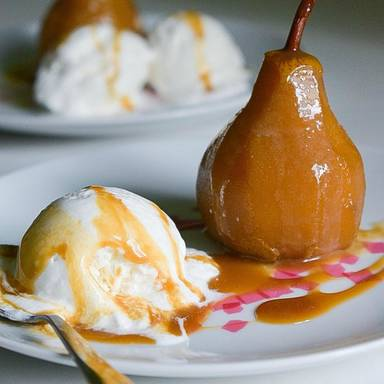 Poached pear with salted caramel and vanilla icecream