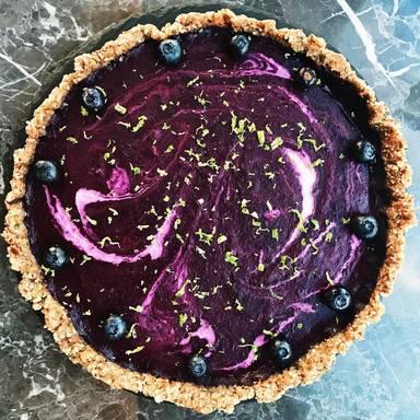 Raw blueberry and basil cake