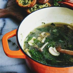 Spinat-Pilz-Suppe